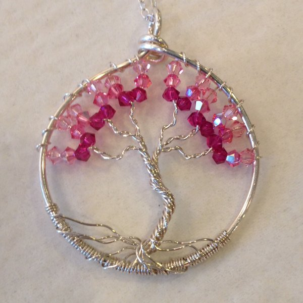 Jerilyn Stone Designs: Pink Quartz Tree Pendant, Gems and Sterling Silver