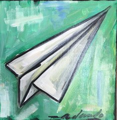 "Rolando Chang Barrero, Avion Verde , 12"" x 12"", Acrylic On Canvas"