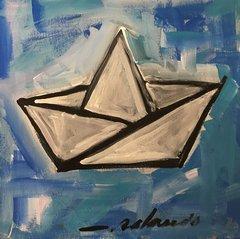 """Rolando Chang Barrero, El Bote Azul, 12"""" x 12"""", Acrylic On Canvas"""