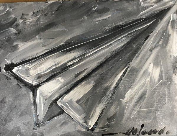 "Rolando Chang Barrero, Avion Blanco/Negro , 12"" x 16"", Acrylic On Canvas"