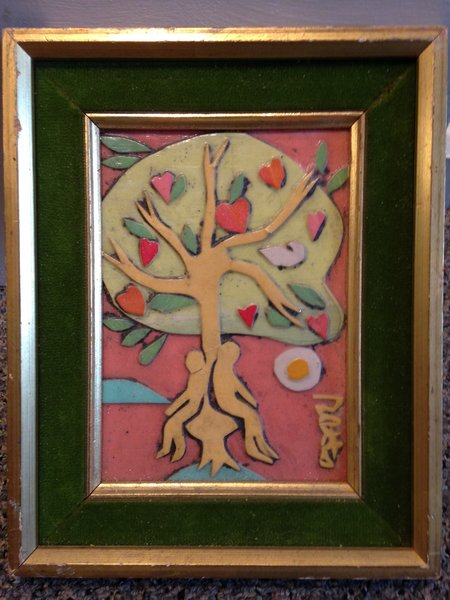 "Rosemary Otto, ""The Tree of Life"" Mixed media, 4""x 5"" Framed"