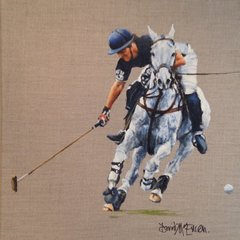 "David McEwen, Player in Blue #3, 15.5"" x 15.5"", Oil"