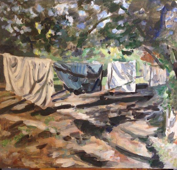 "Kim Fay, Laundry Day, 24"" x 24"", oil on canvas"
