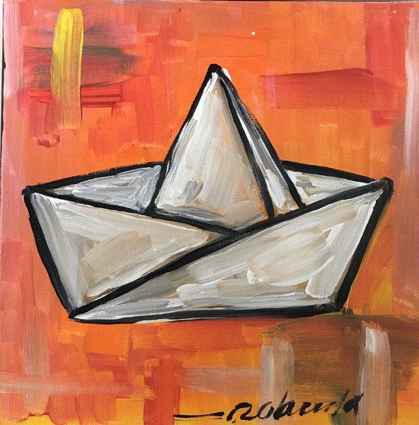 """Rolando Chang Barrero, El Bote Naranja , 12"""" x 12"""", Acrylic On Canvas"""