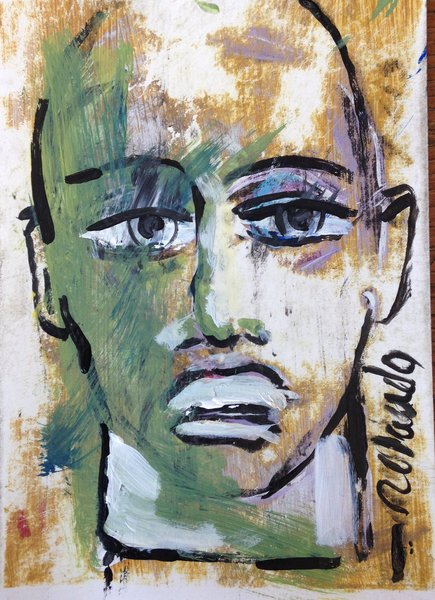 """Rolando Chang Barrero, Rostros (gold and green) , 5"""" x 7"""", acrylic on paper,"""