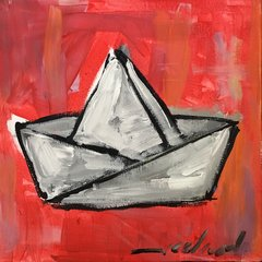 "Rolando Chang Barrero, El Bote Rojo, 12"" x 12"", Acrylic On Canvas"