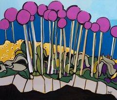 """Judy Yudit Eisinger, Allium Giganteum, Acrylic, 53"""" x 45"""""""