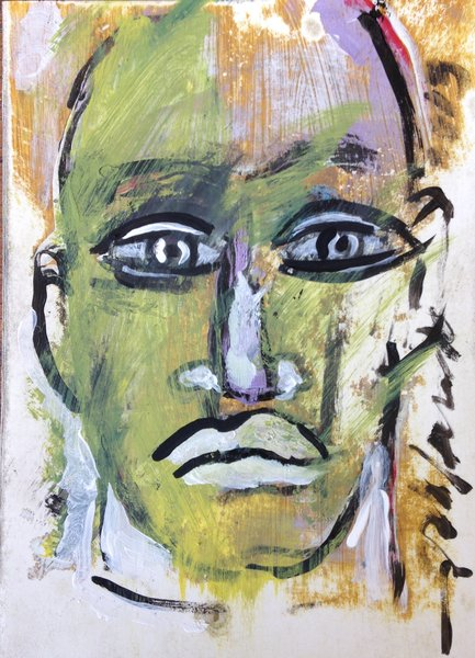 "Rolando Chang Barrero, Rostros (gold and green) #4, 5"" x 7"", acrylic on paper"