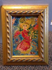 """Rosemary Otto, """"Angel With Flowers"""" 4""""x 6"""" Framed"""