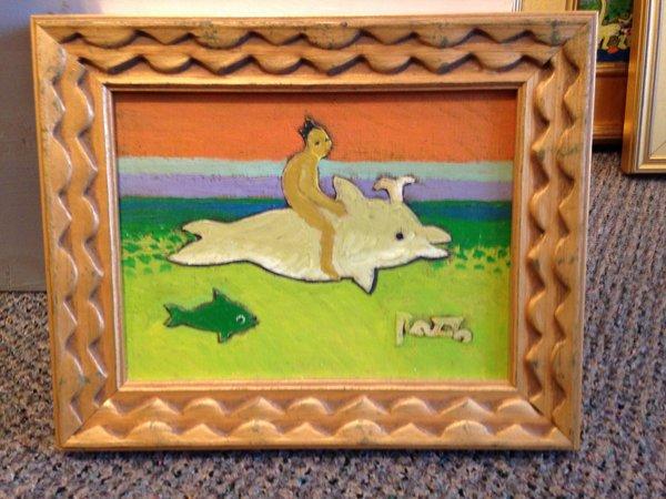 """Rosemary Otto, """"Boy on Dolphin"""" , Mixed Media, 6"""" x 7"""" Framed"""