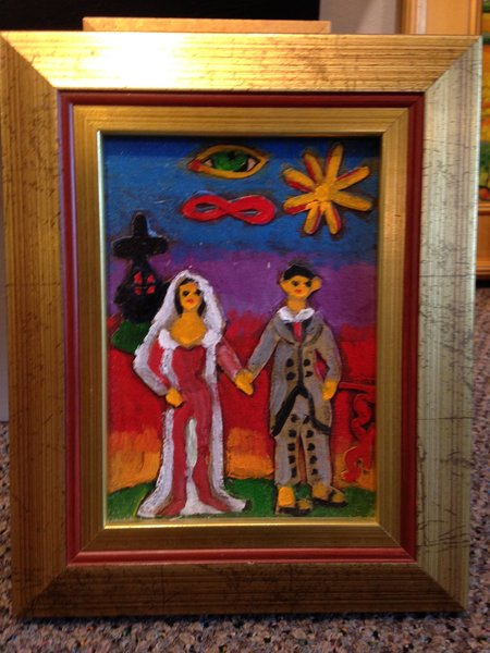 "Rosemary Otto, ""The Wedding Couple"" 5""x 7"", Framed"