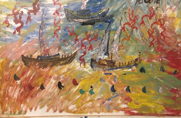 """Purvis Young, """"Boats With Sharks"""" Mixed Media ,48""""x31"""" on Heavy Board"""