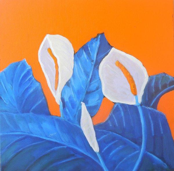 "John Mangan, Araceae 2 ,12"" x 12"", oil on canvas, unframed"