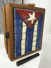 "Carlos Alves, Cuban Flag Cigar Box, Ceramic, 11""W  x 14"" H x 7.5"" D"