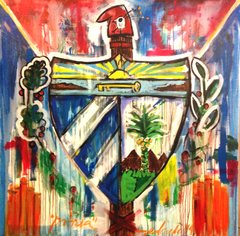 "Rolando Chang Barrero, Cuba (Coat of Arms), 48"" x 48"", Acrylic on Canvas"