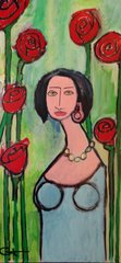 "Robert Catapano, ""Rose"" Acrylic/Canvas 24"" x 48"""