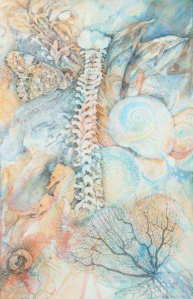 "Elizabeth Reed, Delphinus 2007, Watercolor, Graphite, Gesso, Paper 22""x 30"""