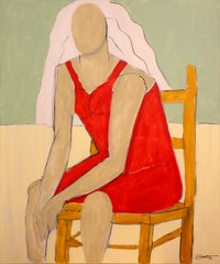 Robert Catapano, Karen Sitting, Acrylic on Canvas