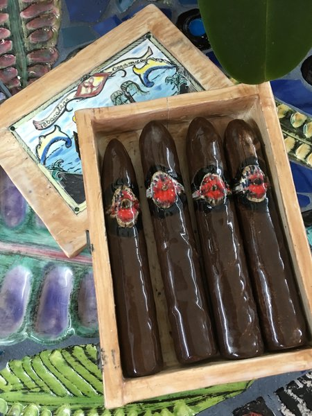"Carlos Alves, Box of 4 Cigars,Ceramic, 6.5"" x 5"""