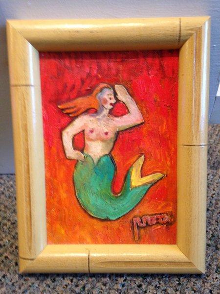 """Rosemary Otto, """"Mermaid #1"""" Mixed Media, 5"""" x 7"""" Framed"""