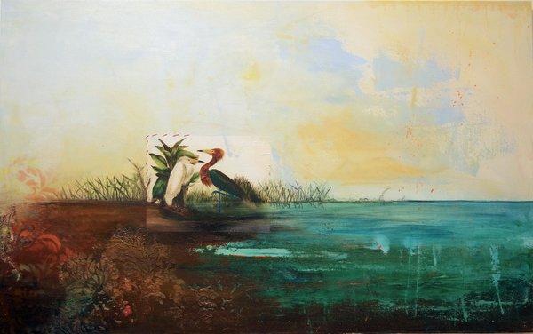 "Ilene Adams, Blue Lagoon, 48"" x 30"", Mixed Media Painting"
