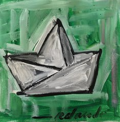 "Rolando Chang Barrero, El Bote Verde, 12"" x 12"", Acrylic On Canvas"