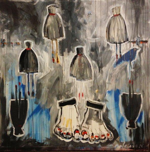 """Rolando Chang Barrero, Debutante in Black and Blue, 48"""" x 48"""" Acrylic on Canvas"""