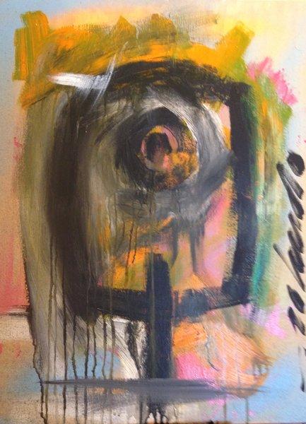 "Rolando Chang Barrero, ""Abstract 2"" ( Pajaro Naranja ) acrylic on canvas, 18"" x 24"""