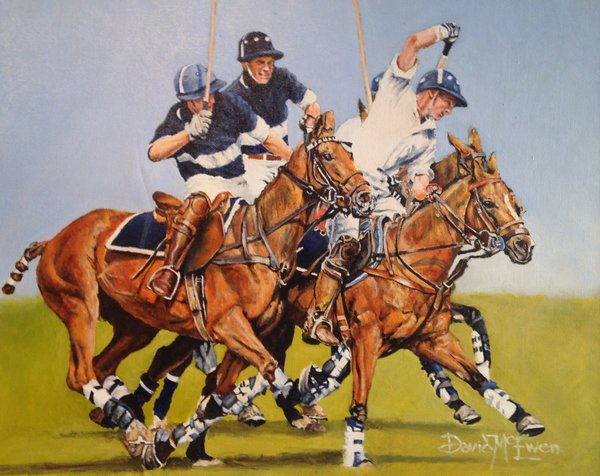 "David McEwen, Polo 17, 16"" x 20"", Oil"