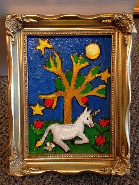 """Rosemary Otto, """"Unicorn"""" Mixed Media, 5""""x7"""" Framed"""