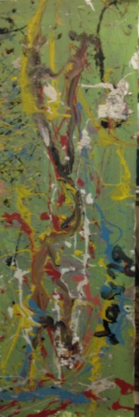 "Purvis Young, ""Abstract Composition"" Mixed on Heavy Board , 16""x47"" With Lamp"