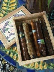 "Carlos Alves, Box of 7 asst Cigars,Ceramic, 6.5"" x 5"""