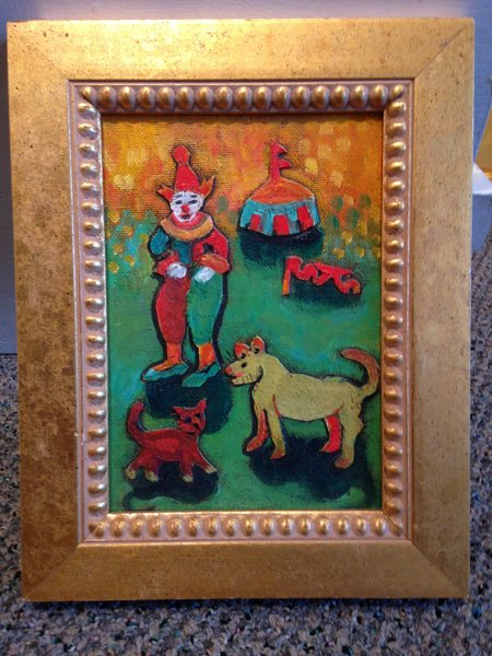 """Rosemary Otto, """"Circus Tent with Clown"""" Mixed Media 5""""x7"""" Framed"""