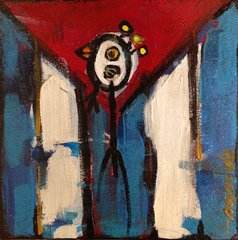 "Rolando Chang Barrero, SOLD   Cuba, 8""x 8"", acrylic on canvas"