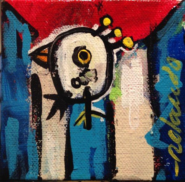 "Rolando Chang Barrero, CUBA, 4""x 4"", acrylic on canvas"