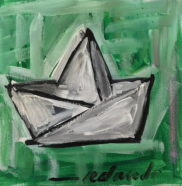 """Rolando Chang Barrero, El Bote Verde, 12"""" x 12"""", Acrylic On Canvas"""