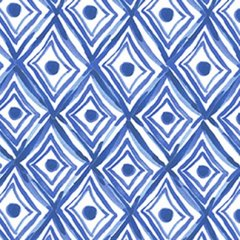 Clothworks - Blue Porcelain - Diamonds - White