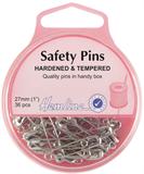 Safety Pins: 27mm - Nickel - 36pcs