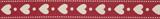 Natural Ribbon : 5m x 15mm: Hearts: Red