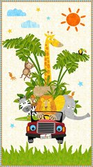 """Blank Quilting - Safari Expedition - 24"""" Panel Of Animals In Jeep"""