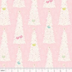 0.20mtr Remnant - Blend - Christmas Dear - Winter Flock - Pink