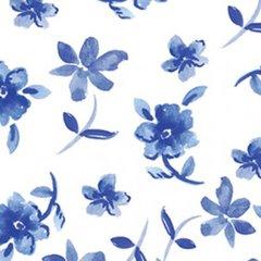 Clothworks - Blue Porcelain - Delicate Flower - White