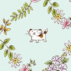 Clothworks - Cats in the Garden - Look at you - Light Turquoise