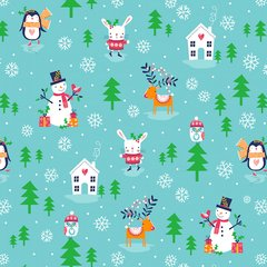 0.22mtr Remnant - Dashwood Studio - Merry Little Christmas - Snowmen and friends - Aqua
