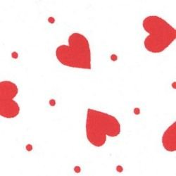Hearts - White with Red Hearts