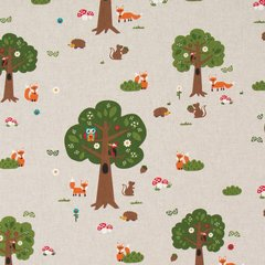 0.89mtr Remnant - Pop Art Linen - Forest Animals