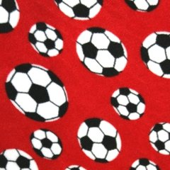 Polar Fleece - Red Footballs