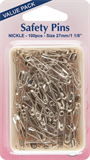 Safety Pins: Value Pack - Nickel - 100pcs