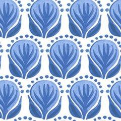 0.50mtr Remnant - Clothworks - Blue Porcelain - Pottery Floral - White