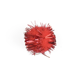 Glitter Pom Poms: 2.5cm (1in): Red